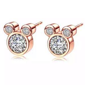 Jewelry - Rose gold Mickey CZ earrings